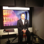 Mark Serrano on set at CNN for live interview on TruTV